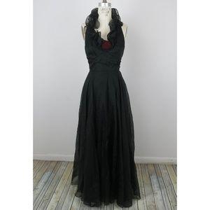 Vintage 70s Maxi Dress Ruffles Gothic Floral